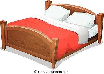 madera, cama matrimonial, con, manta roja