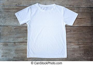 madera, camiseta, tablón, vista, cima, color, gris