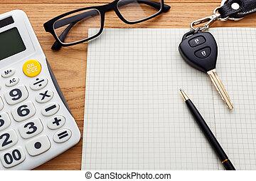 madera, coche, cuaderno, llave, blanco, tabla