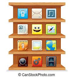 madera, computadora, estantes, apps, icons., vector
