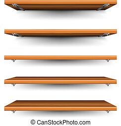 madera, conjunto, estantes