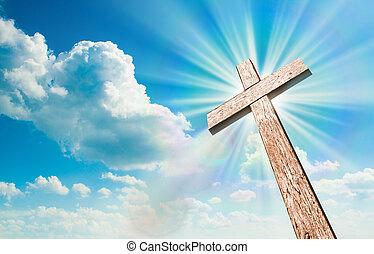 madera, cruz, en, cielo azul