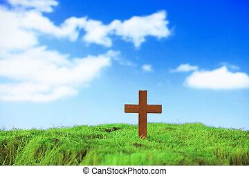 madera, cruz, en, hierba verde