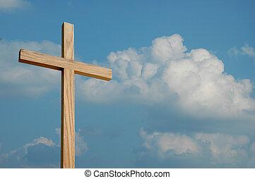 madera, cruz, y, nubes