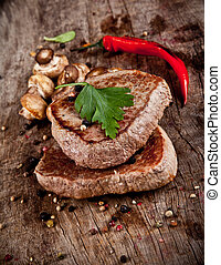 madera, delicioso, carne de vaca, filetes