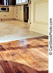 madera dura, y, piso de azulejo