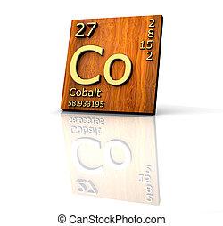 madera, elementos, forma, -, cobalto, periódico, tabla,...