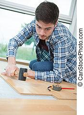 madera, embaldosado, piso
