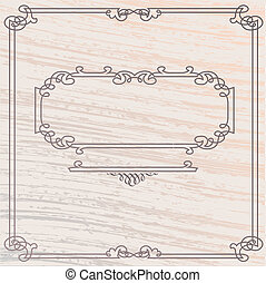 madera, estilo, viejo, marco, elegante, vector, incrustación