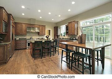 madera, gabinetes, lujo, cocina