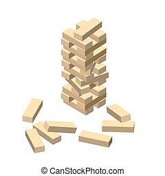 madera, game., de madera, blocks., vector, ilustración, eps,...