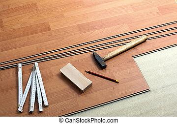madera, herramientas, embaldosado