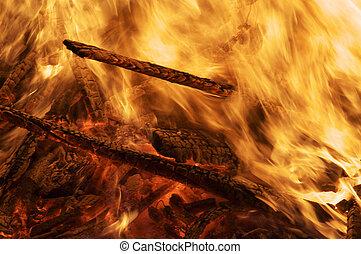 madera, hoguera, llamas