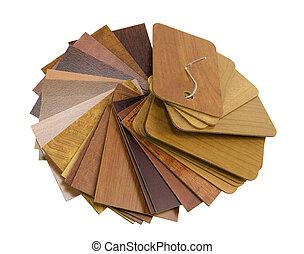 madera, laminado, muestras