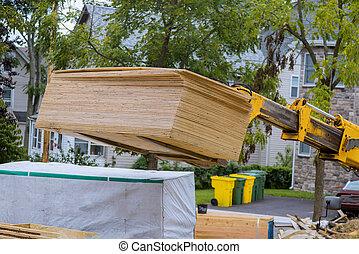 madera, marco, maquinaria, utilizado, casa, agregar, extensión, bragueros, camión, auge, pesado