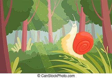 madera, mudanza, caracoles, wood., limo, animal, lento, naturaleza, jardín, verde, vector, ilustración, pasto o césped, caracol