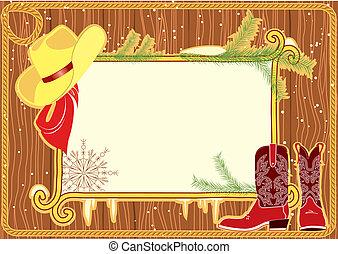 madera, pared, cartelera, sombrero, botas de vaquero, marco