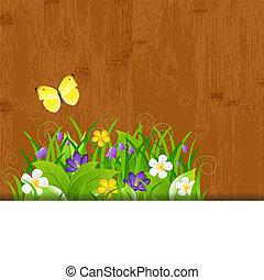 madera, plano de fondo, con, hojas, y, flor