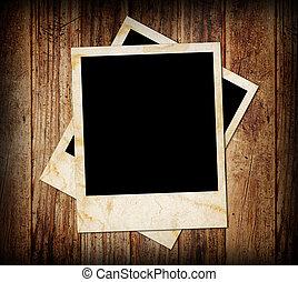 madera, plano de fondo, con, marco de la foto