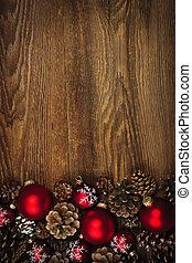 madera, plano de fondo, ornamentos de navidad