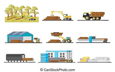 madera, producción, elementos, colección