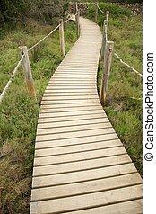 madera, puente peatonal