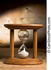 madera, reloj de arena