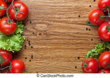 madera, rojo verde, ensalada, tomates