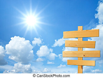 madera, señales, para, su, texto, con, cielo, plano de fondo