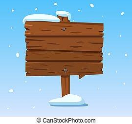 madera, signpost., invierno de madera, señal, snow., vector, vacaciones, caricatura, navidad