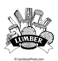 madera, silvicultura, troncos, diseño, troncos, plano de ...