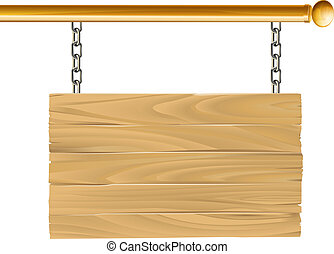 madera, suspendido, señal, ilustración