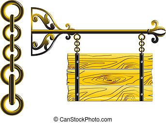 madera, tabla, en, el, cadenas