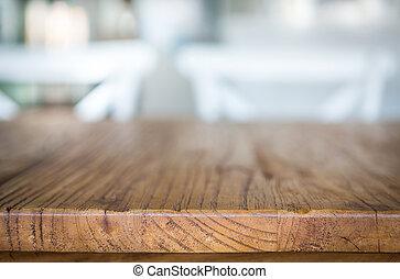 madera, tabla, en, restaurante