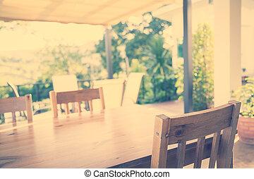 madera, tabla, en, restaurante, (, filtrado, imagen, procesado, vendimia, effect., )