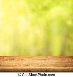 madera, tabla, en, verde, verano, bosque, plano de fondo