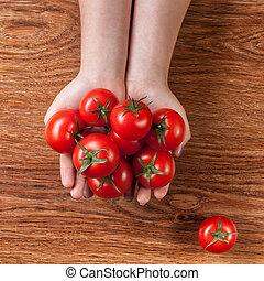 madera, tomates, rojo, manos