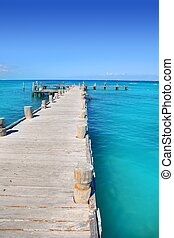 madera, tropical, caribe, muelle, mar, cancun