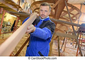 madera, uso, para construir, un, barco