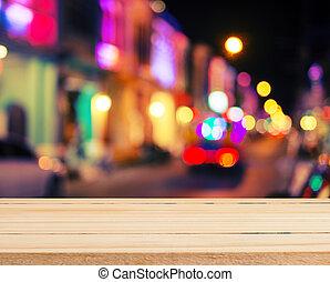 madera, vendimia, cima, bokeh, farola, tabla