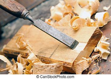 madera, viejo, cincel, -, carpintería, taller, vendimia,...