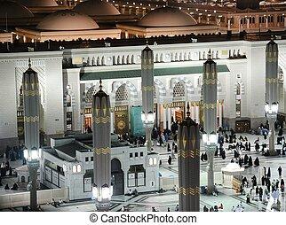 madina, meczet, noc