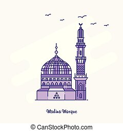 MADINA MOSQUE Landmark Purple Dotted Line skyline vector illustration