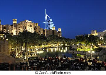 Madinat Jumeirah at dusk. Dubai, United Arab Emirates