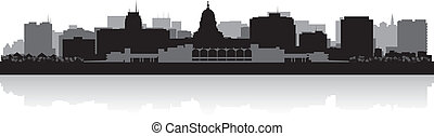 Madison city skyline silhouette - Madison USA city skyline...