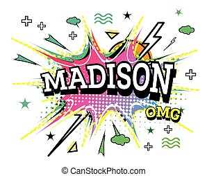 Madison Comic Text in Pop Art Style Isolated on White ...
