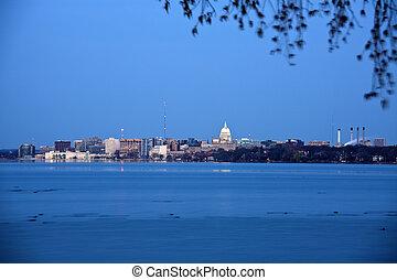 Madison downtown seen accros Lake Monona during sunrise