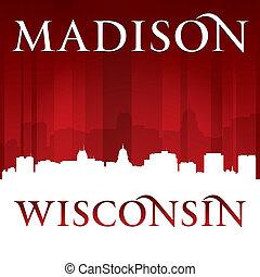 madison, fundo, cidade, wisconsin, vermelho, silueta