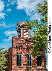 Madison, Georgia USA - September 17, 2016 Historic 1887 building downtown top portion