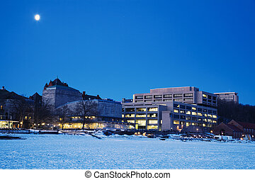 Madison seen from frozen lake